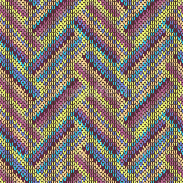 Seamless knitted pattern. Multicolored repeating tribal template. Stock photo © ESSL