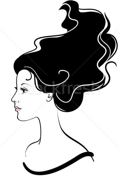 Vetor menina cara ícone longo cabelo preto Foto stock © ESSL