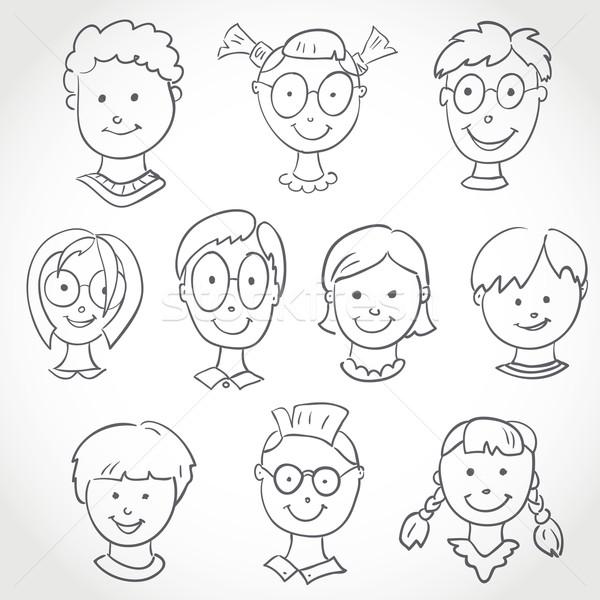 Kids Face Set Sketch  Stock photo © ESSL