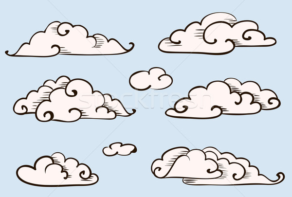 Clouds set, vintage vector stylized drawing  Stock photo © ESSL
