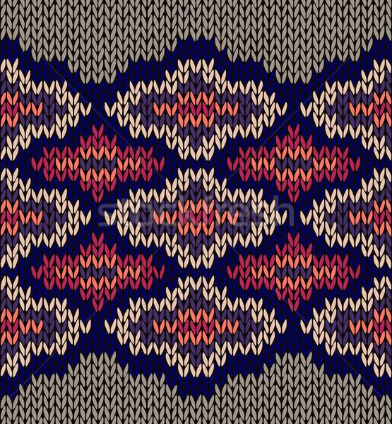 Wollen naadloos ornament textuur weefsel kleur Stockfoto © ESSL