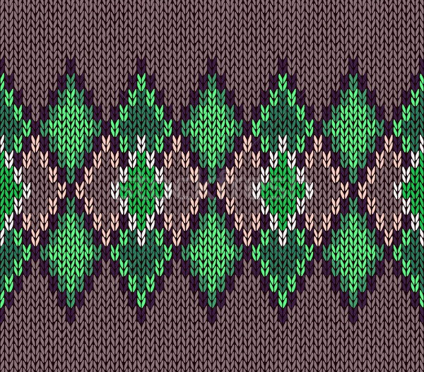 Style seamless green color knitted ornament pattern Stock photo © ESSL