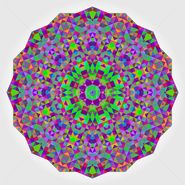 Stock photo: Abstract colorful circle backdrop. Geometric vector mandala. Mos