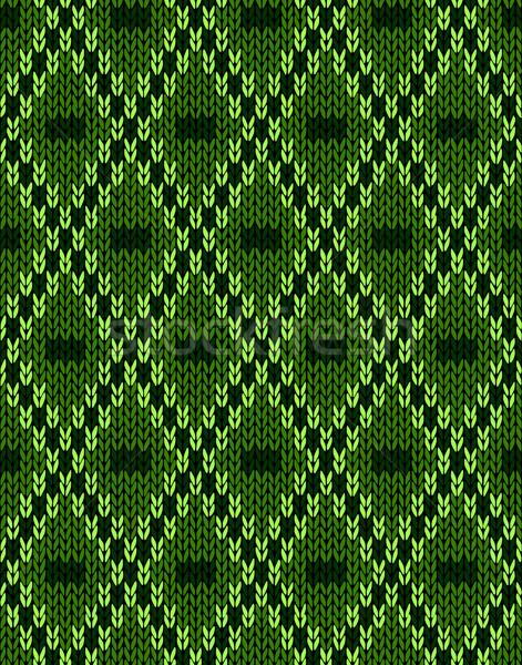 Wollen naadloos ornament textuur weefsel groene Stockfoto © ESSL