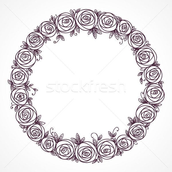 Floral wreath. Rose flowers bouquet. Branch of stylized flowers and leaves interlacing Stock photo © ESSL