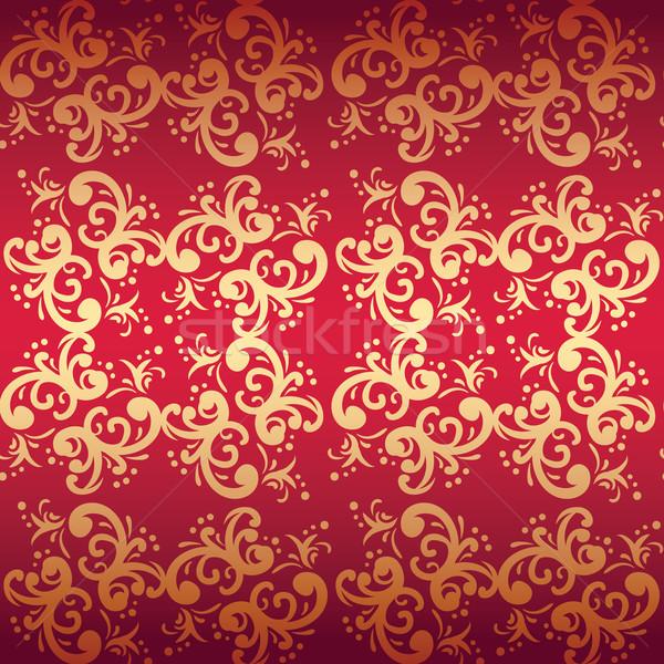 Stock fotó: Piros · végtelenített · virágmintás · vektor · absztrakt · terv