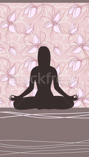 Yoga Card with Meditating Woman and Floral Background Stock photo © ESSL