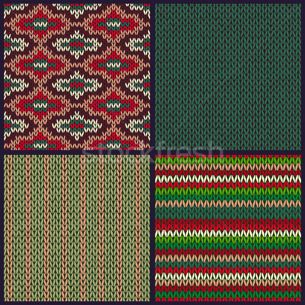 Stock photo: Seamless Knitted Pattern. Set of Christmas Samples. Collection o