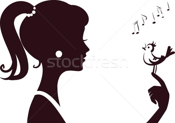 young beautifu girl silhouette with little bird Stock photo © ESSL