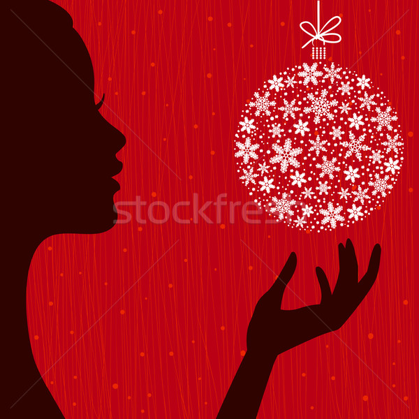 Christmas Eve background. Profile Silhouette of Pretty Young Wom Stock photo © ESSL