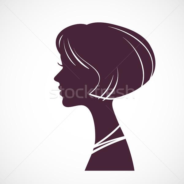 Fille silhouette tête belle stylisé Photo stock © ESSL