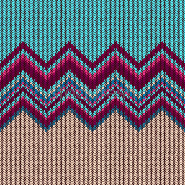 Stock photo: Seamless knitted pattern. Style blue red beige ethnic background