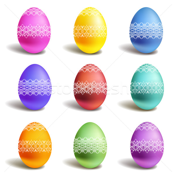 Stock fotó: Szett · vektor · szín · húsvéti · tojások · terv · festék