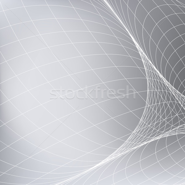 Abstract grey background with network. Curve lines in space simulating a rounded surface. Stock photo © ESSL