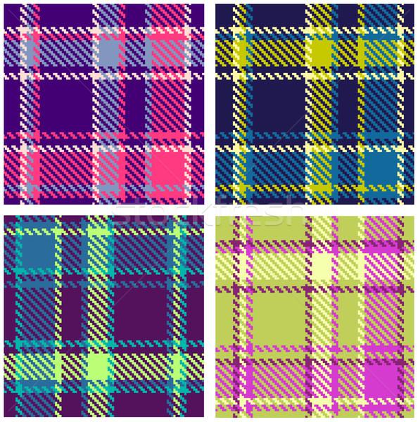 Szett végtelenített kockás vektor kockás minta Stock fotó © ESSL