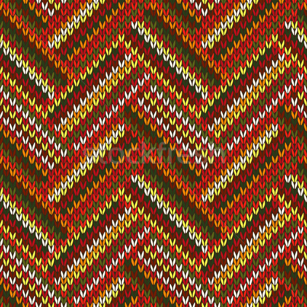 Style Seamless Red Orange Green White Brown Color Knitted Patter Stock photo © ESSL