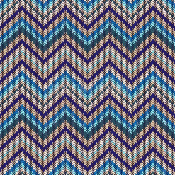 Seamless geometric ethnic spokes knitted pattern. Blue white orange beige color knitwear sample Stock photo © ESSL