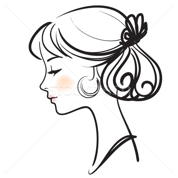 Young spanish flamenco dancer beautiful face vector illustration Stock photo © ESSL