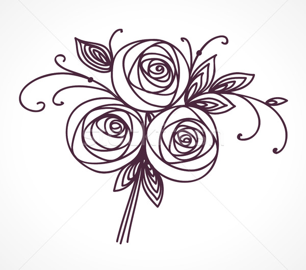 Flower bouquet. Stylized roses hand drawing. Stock photo © ESSL