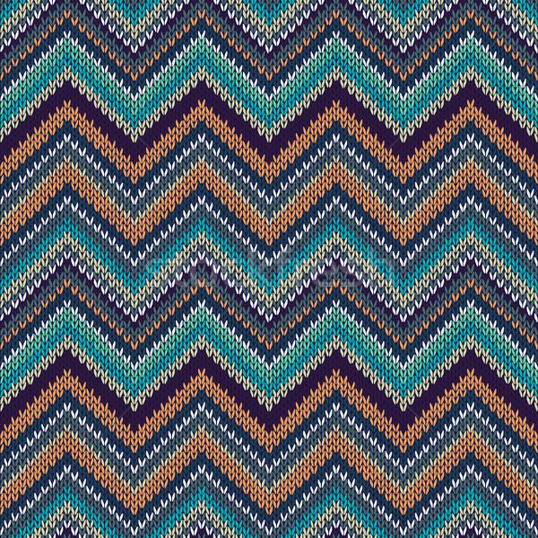 Knit Vector Seamless Pattern. Fashion Blue Green Orange White Gr Stock photo © ESSL