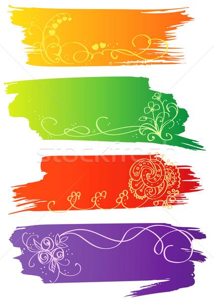 Fleur bannières cadre beauté signe web Photo stock © ESSL