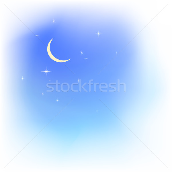 Blue sky in clouds with moon and stars. Fair weather. Stock photo © ESSL
