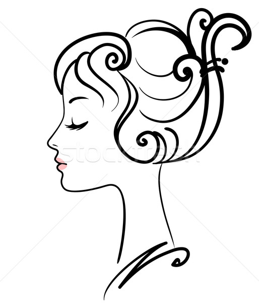Line Drawing Face Vector : Beautiful · girl cara mulher abstrato projeto