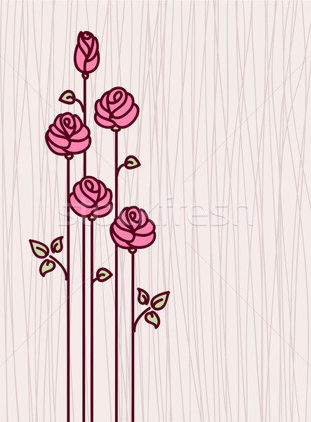 Greeting Card with Pink  Stylized Roses Stock photo © ESSL