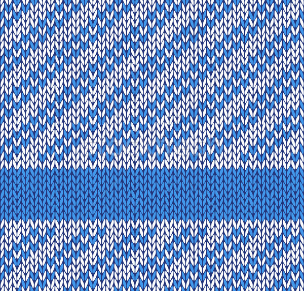 Style Seamless Blue White Color Knitted Vector Pattern Stock photo © ESSL