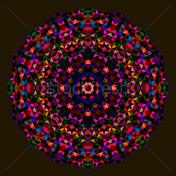 Absztrakt virág piros kék zöld fekete Stock fotó © ESSL