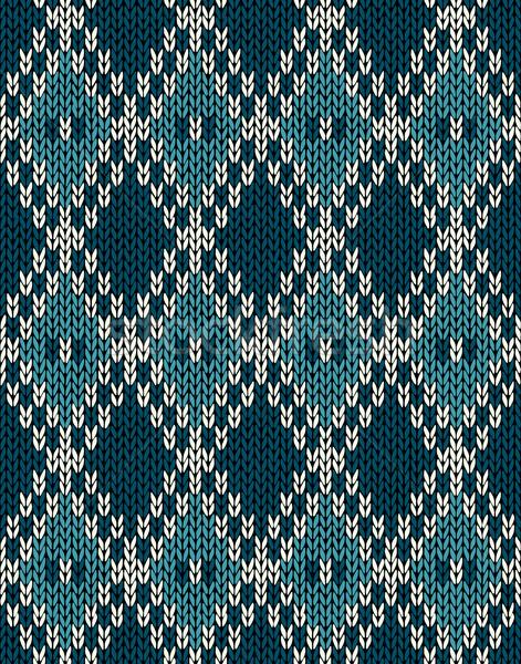 Knit Woolen Seamless Jacquard Ornament Pattern. Fabric Dark Blue Stock photo © ESSL