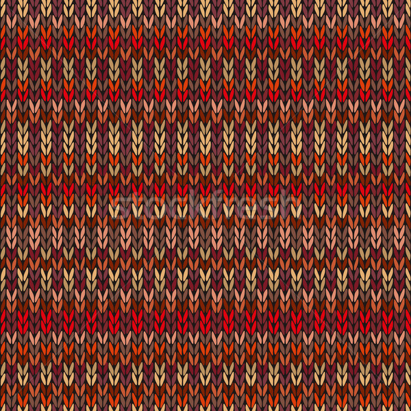 Seamless Ethnic Geometric Knitted Pattern. Style Red Pink Orange Yellow Background Stock photo © ESSL