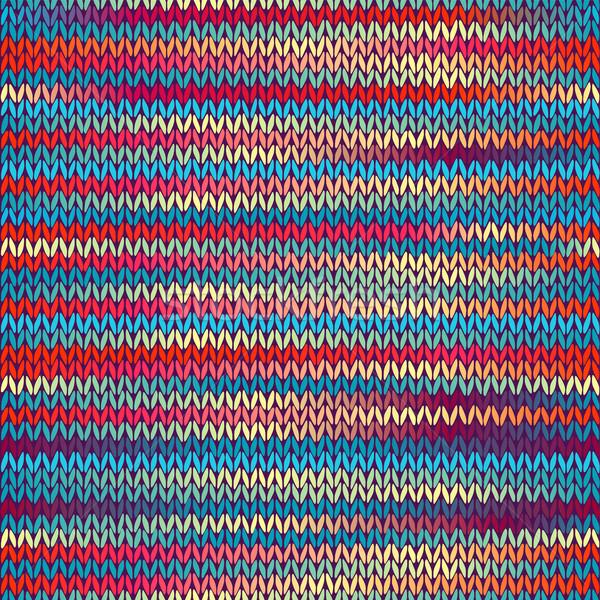 Sem costura tricotado padrão azul amarelo vermelho Foto stock © ESSL