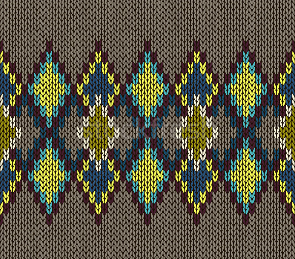 Seamless Pattern. Knit Woolen Trendy Ornament Texture. Fabric Color Tracery Background. Stock photo © ESSL