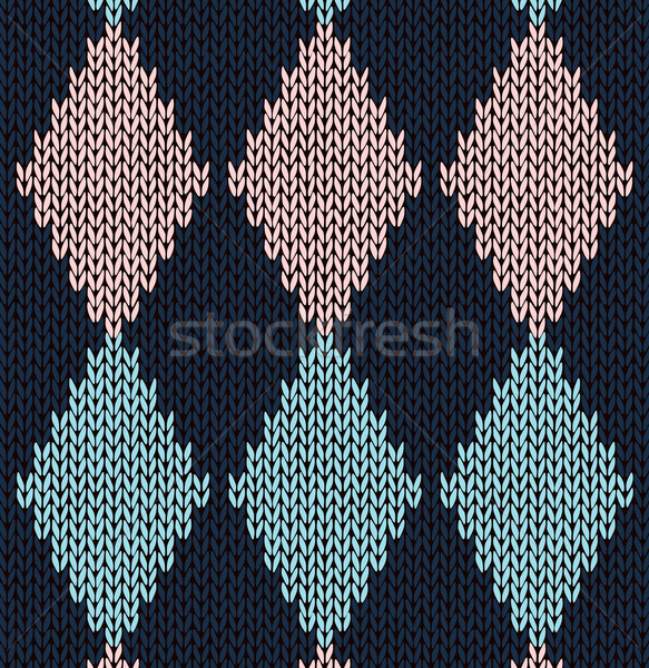Style seamless blue pink color knitted pattern Stock photo © ESSL