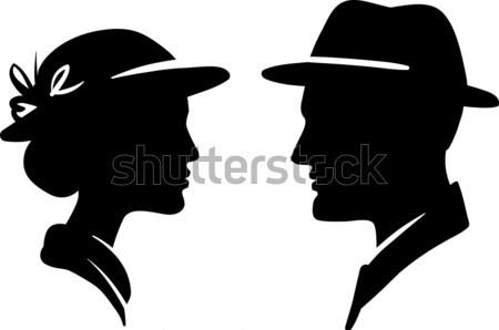 man and woman face profile, male female couple  Stock photo © ESSL