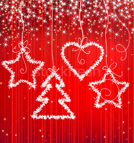 Christmas red sparkle background with tree, star, heart Stock photo © ESSL