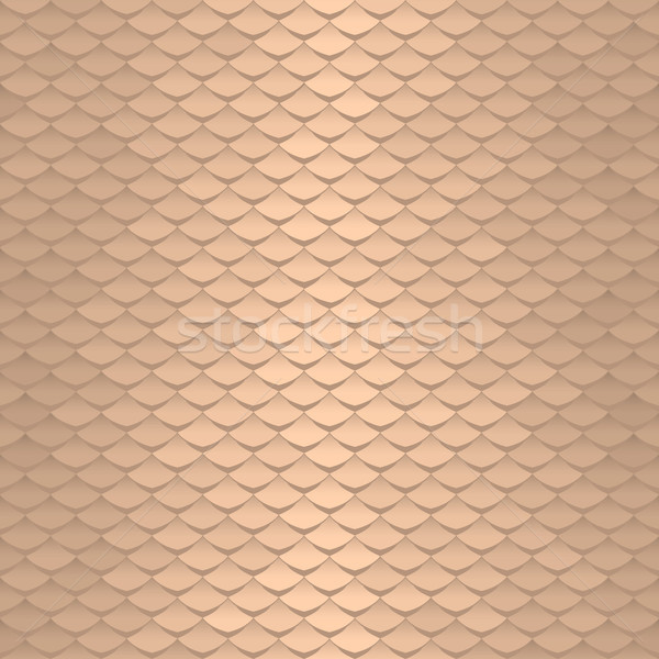 Seamless scale pattern. Abstract roof tiles background. Gold squama texture Stock photo © ESSL