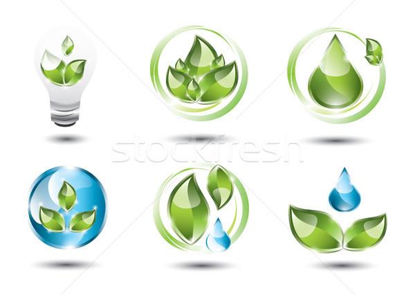 öko ikon szett szimbólumok szett különböző ikonok Stock fotó © evetodew