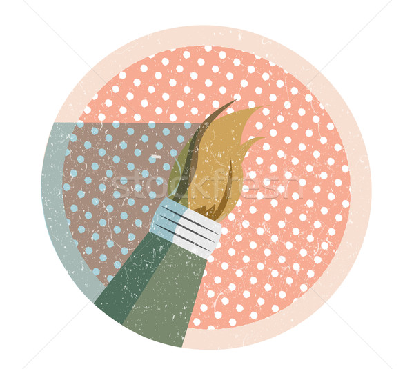 Retro ecset ikon klasszikus minta felület Stock fotó © evetodew
