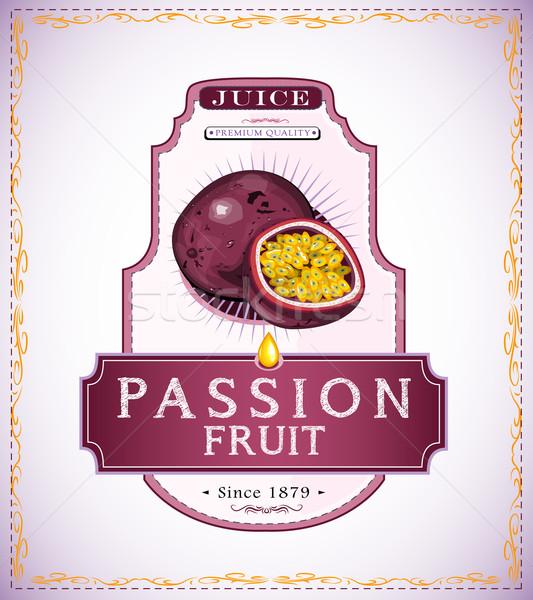 Szenvedély gyümölcs termék címke gyümölcslé étel Stock fotó © evetodew