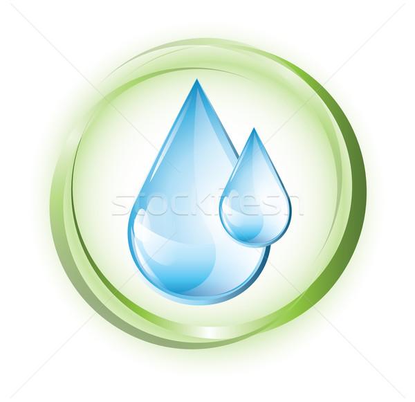 Vízcseppek kék vízcseppek zöld körök víz Stock fotó © evetodew