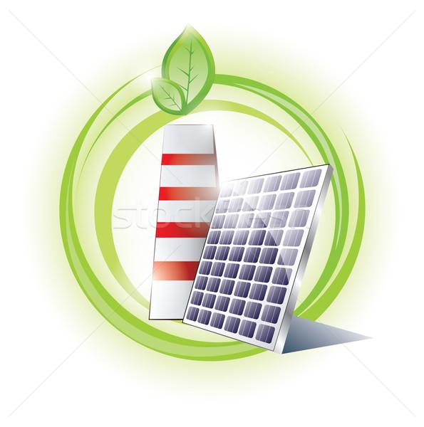 Eco schoorsteen zonnepaneel business zon natuur Stockfoto © evetodew