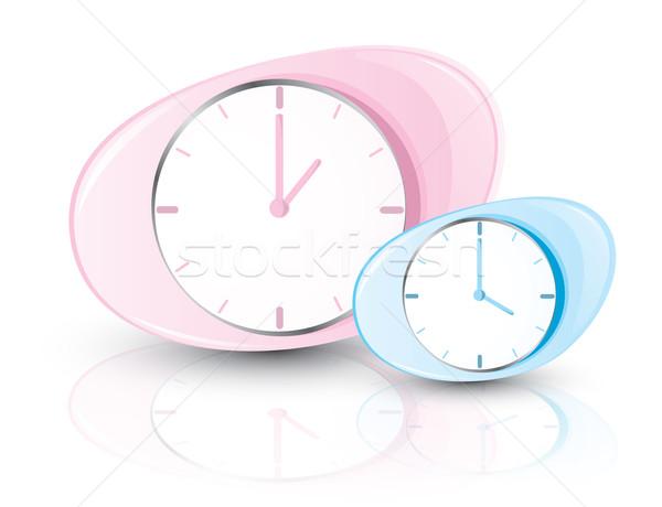 Roze Blauw klokken geïsoleerd witte klok Stockfoto © evetodew