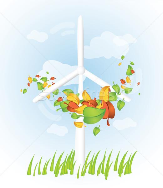 Windturbine bladeren rond wolken groene Blauw Stockfoto © evetodew