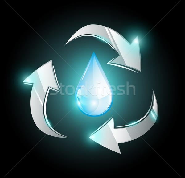 Recycling Wasser Tröpfchen glänzend Pfeile abstrakten Stock foto © evetodew