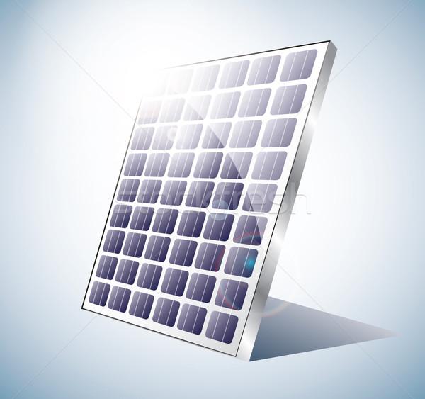 Napelem ragyogó nap mögött technológia kék Stock fotó © evetodew