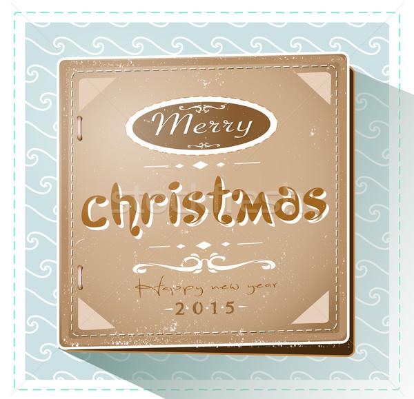 Klasszikus retro karácsony új év kártya 2015 Stock fotó © evetodew