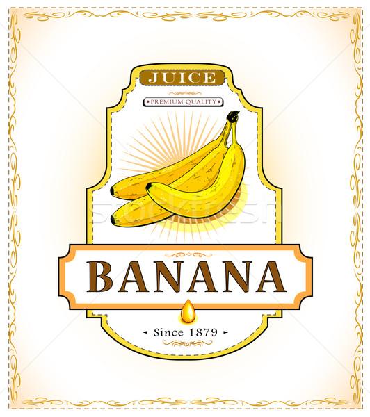 érett banán termék címke három dzsúz Stock fotó © evetodew