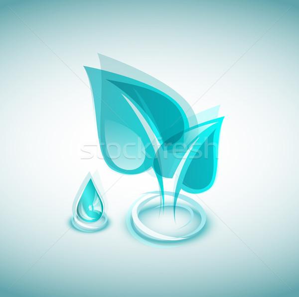 экологический иконки листьев капелька синий аннотация Сток-фото © evetodew